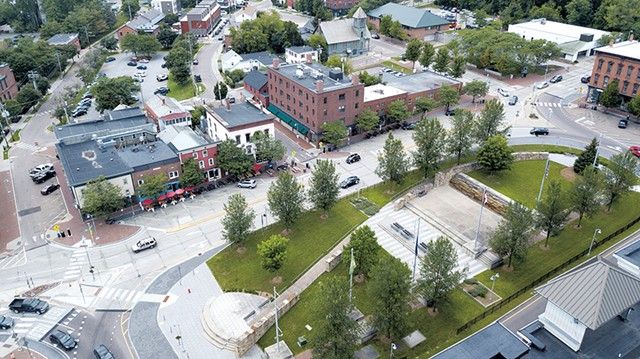 Aerial view of Winooski's Main Street and notorious roundabout - JAMES BUCK