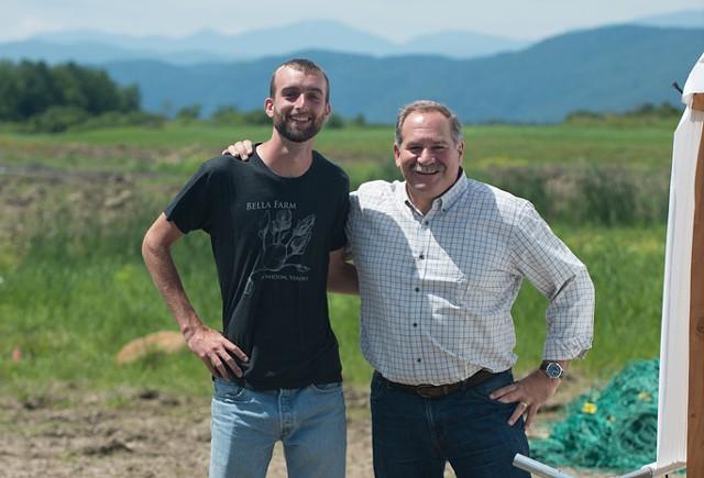 Julian Post (left) and Peter Briggs at Mt. Philo Hops - CALEB KENNA