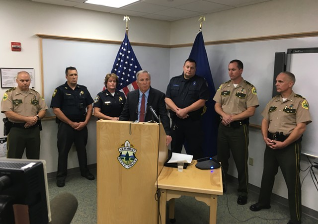 Public Safety Commissioner Tom Anderson speaks at a traffic safety press conference in Waterbury on Tuesday. - MARK DAVIS