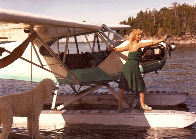 Shirley Chevalier on a sea plane in 1981 - COURTESY OF SHIRLEY CHEVALIER