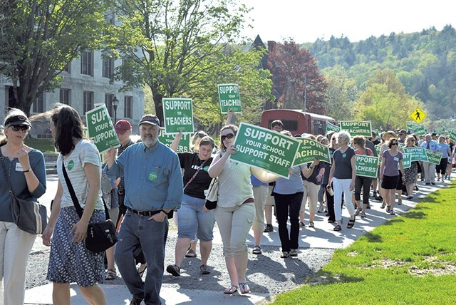 Vermont-National Education Association supporters in May protesting a plan to change how health benefits are negotiated - FILE: TERRI HALLENBECK