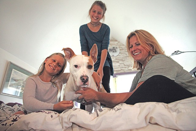 Left to right: Emma, Kada and Kashka Orlow with their dog, Lola - MATTHEW THORSEN