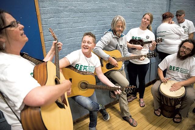 Burlington teachers and their supporters last Thursday - JAMES BUCK