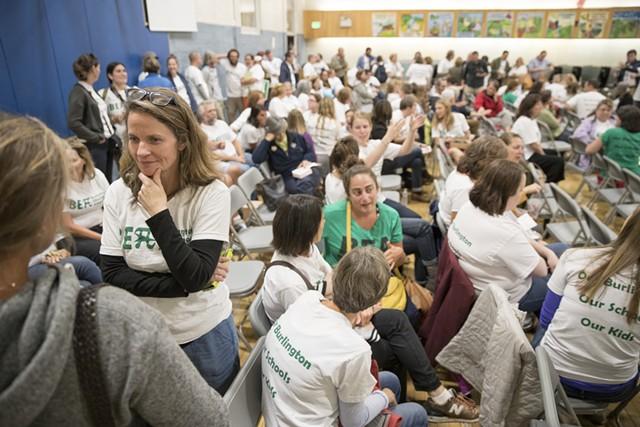 Burlington teachers rallying for raises in the Edmunds Middle School cafeteria August 31 - JAMES BUCK