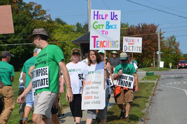Teachers picketing in front of Burlington High School Friday - KATIE JICKLING