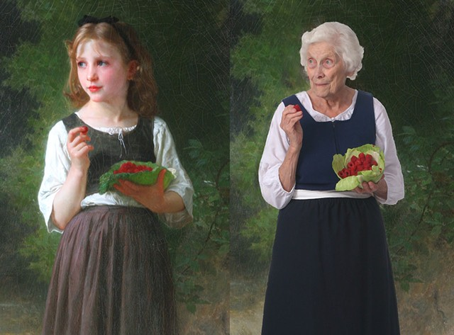 "Left: Williams Bouguereau's ""Raspberry Girl""; Right: Alice Burnham as the Raspeberry Girl - ST. JOHNSBURY ATHENEUM"