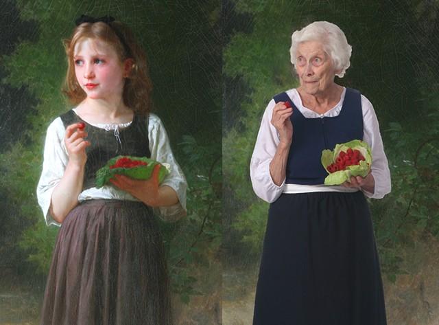 "Left: Williams Bouguereau's ""Raspberry Girl""; Right: Alice Burnham as the Raspeberry Girl - ST. JOHNSBURY ATHENEUM"