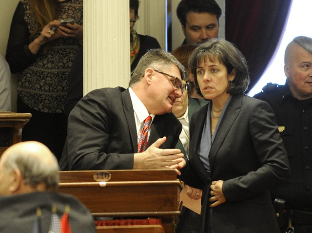 House Minority Leader Don Turner confers with House Speaker Mitzi Johnson - JEB WALLACE-BRODEUR