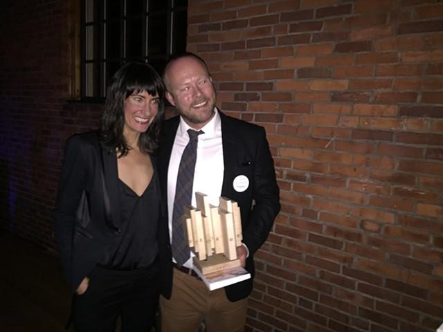 Allison Titus and Jensen Beach, holding his Vermont Book Award made by artist Jesse Cooper - MARGOT HARRISON
