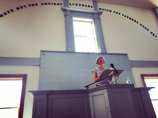 Alison Prine reading in Old West Church - KELLEY GOULETTE