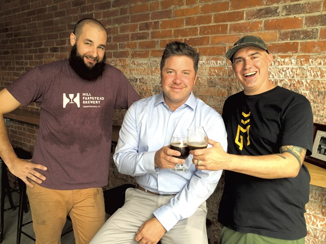 Left to right: Andrew Leichthammer, Justin Bourgeois and Scott Kerner at Good Measure Brewing - SALLY POLLAK