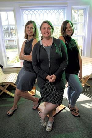 Left to right: Julie Miller-Johnson and Hub cofounders Kristin Humbargar and Elissa Koop - MATTHEW THORSEN
