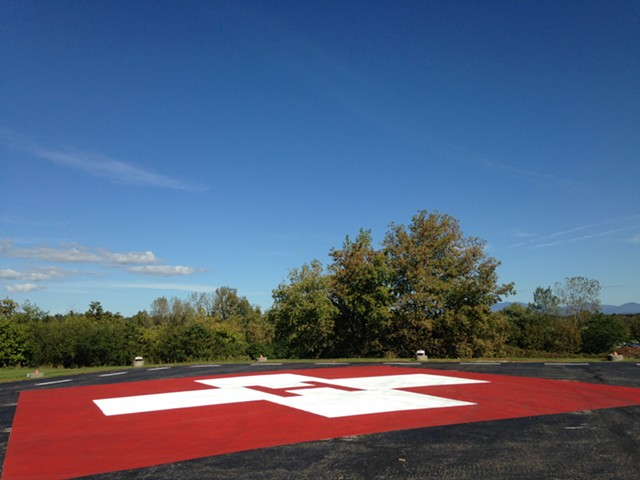 The helipad at the University of Vermont Medical Center in Burlington - MOLLY WALSH