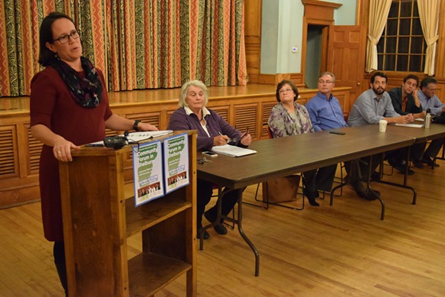 Chittenden County senators listen as Agency of Natural Resources Secretary Julie Moore speaks Tuesday night at a forum in Shelburne. - TERRI HALLENBECK