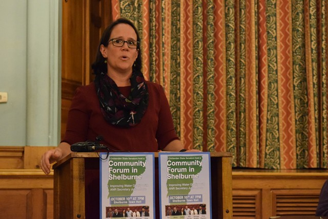 Agency of Natural Resources Secretary Julie Moore speaks Tuesday night at a forum in Shelburne sponsored by the Chittenden County Senate delegation. - TERRI HALLENBECK