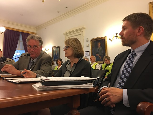 Public Utility Commission staff attorney John Cotter, PUC member Margaret Cheney and utilities analyst Tom Knauer testify before the Legislative Committee on Administrative Rules. - JOHN WALTERS