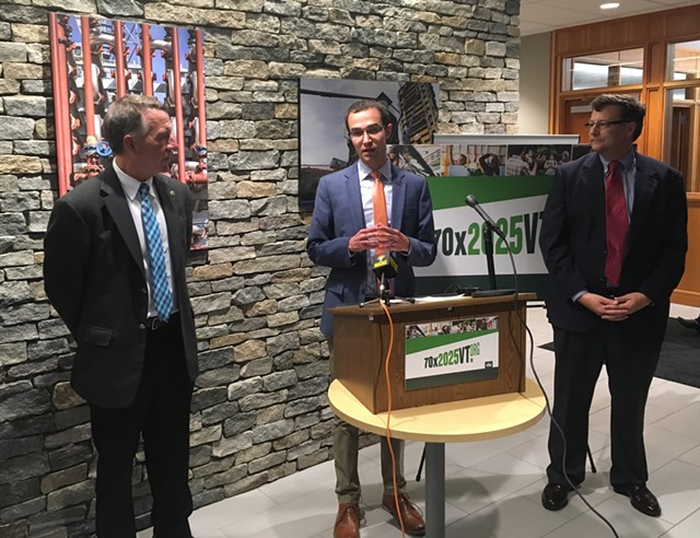 Tom Cheney, director of 70x2025vt, is flanked by Gov. Phil Scott (left) and Vermont Student Assistance Corporation president Scott Giles on Tuesday. - TERRI HALLENBECK
