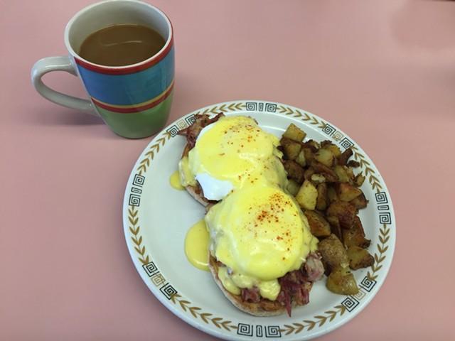 Eggs Benedict with corned beef hash - SALLY POLLAK