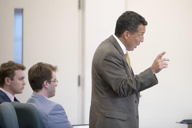 Wesley Richter, center, listens as his attorney Ben Luna, standing, addresses the court. - JAMES BUCK
