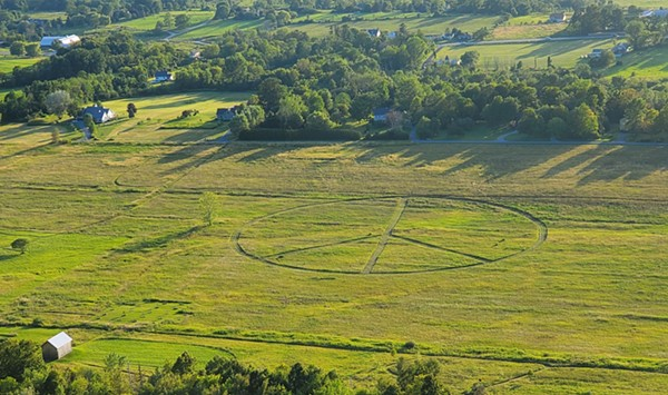 WTF: Who Mowed a Giant Peace Sign in a Field Next to Mount Philo?