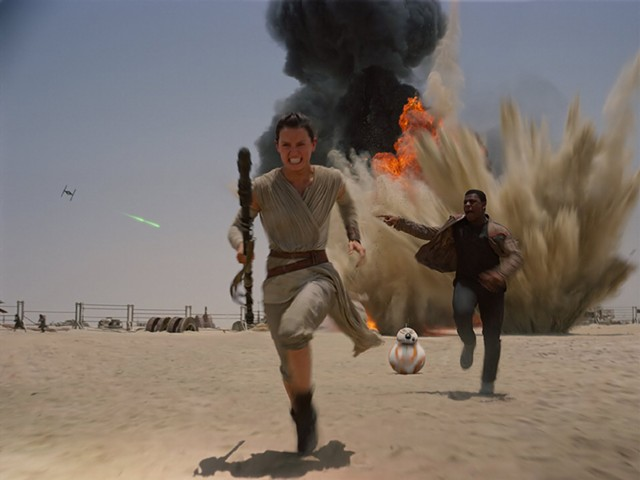 FORCE OF HABIT Ridley and Boyega lead a new generation of Star Wars characters fleeing from old threats in Abrams' Episode VII.