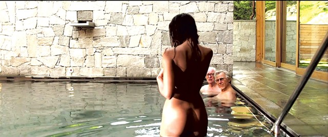 GEEZER PLEASER Two old friends talk about love, art and aging while taking in the scenery at an exclusive Swiss spa in Sorrentino's latest.