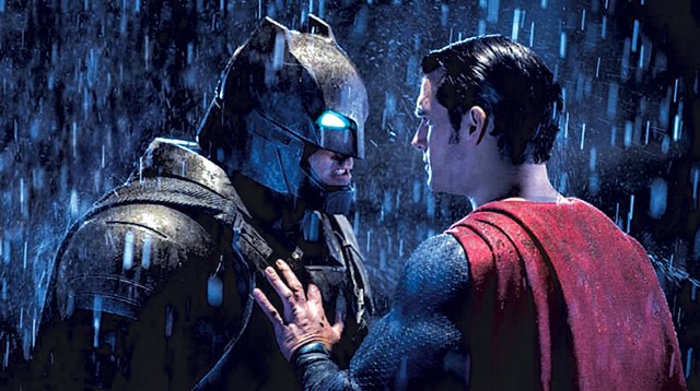 SUPER BRUISE DAY Cavill and Affleck do a lot more punching and posing than talking in Snyder's over-the-top superhero brawl.