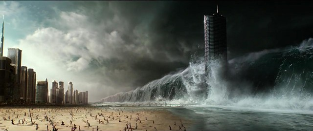 WAVE OF DISCONTENT Rio falls prey to weather tampering in an over-the-top scene that is, sadly, not representative of Devlin's dull disaster film.