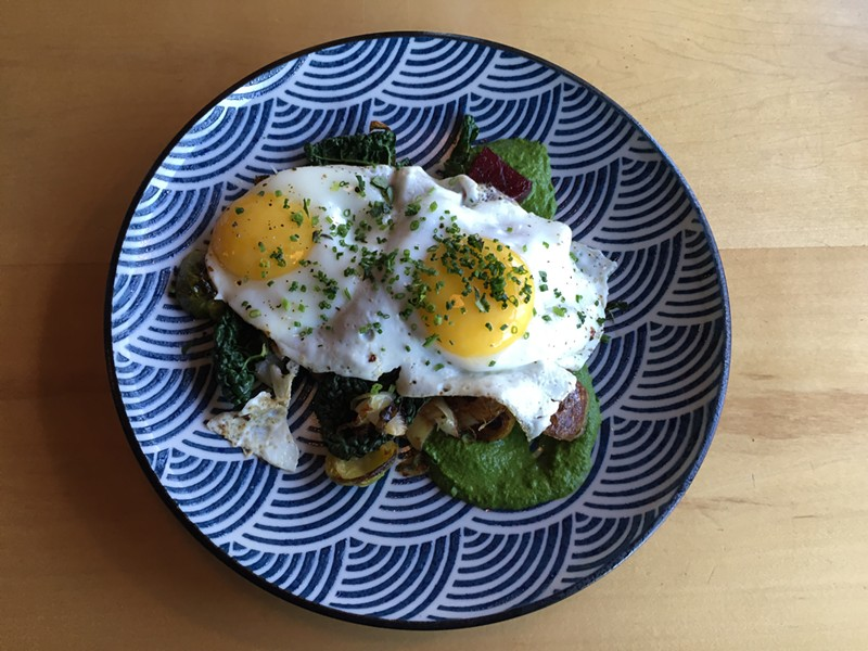 Fried eggs and vegetable hash - SALLY POLLAK