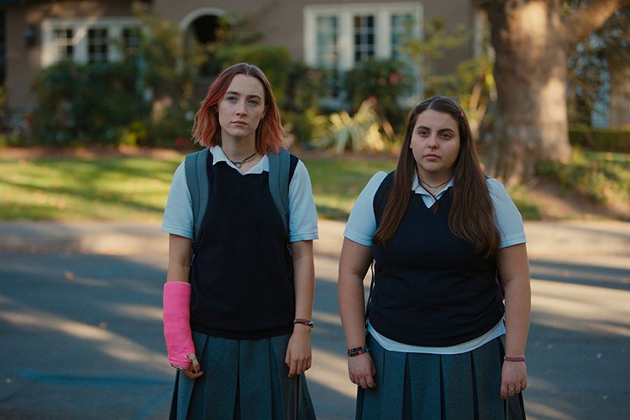 SKIRTING TROUBLE Ronan and Feldstein play Catholic schoolgirls with a creative wild side in Gerwig's solo directorial debut.