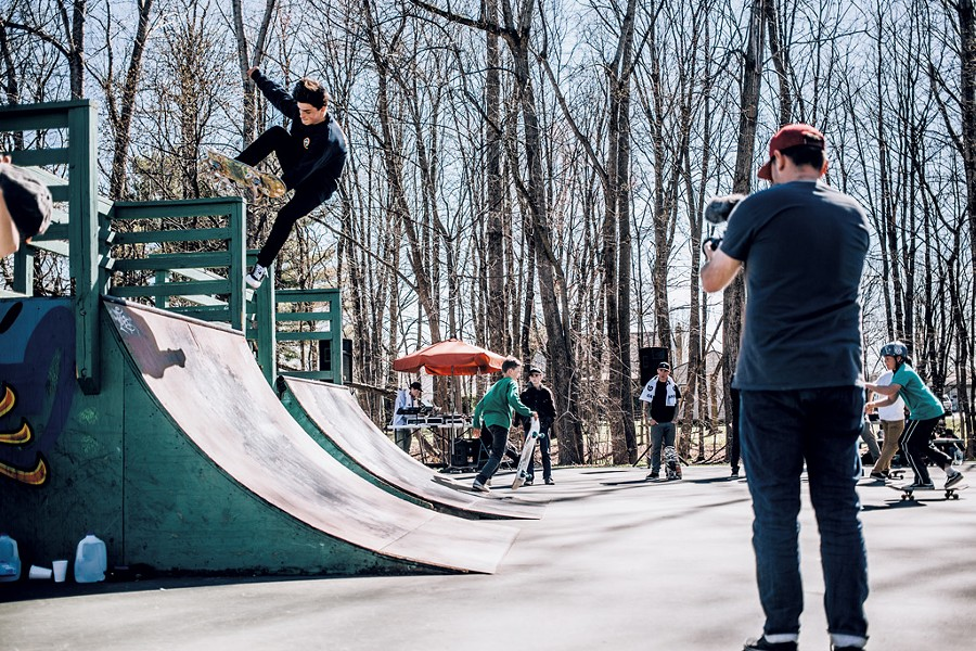 Nate Dugan skating at a fundraiser for the Winooski Skate Park - COURTESY OF PETER CIRILLI