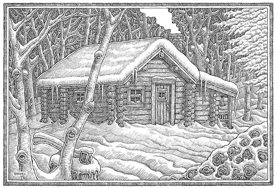 Cabin illustration by Mike Biegel - COURTESY OF MIKE BIEGEL