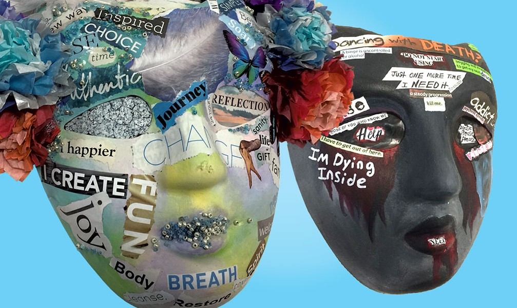 "A recovery mask by Sara Glasgow and an addiction mask by ""Anna"" - CATHY RESMER"