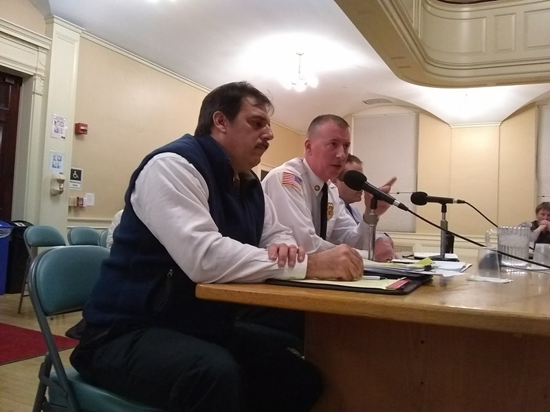 Colchester assistant town manager Aaron Frank and Burlington Fire Chief Steven Locke - KATIE JICKLING