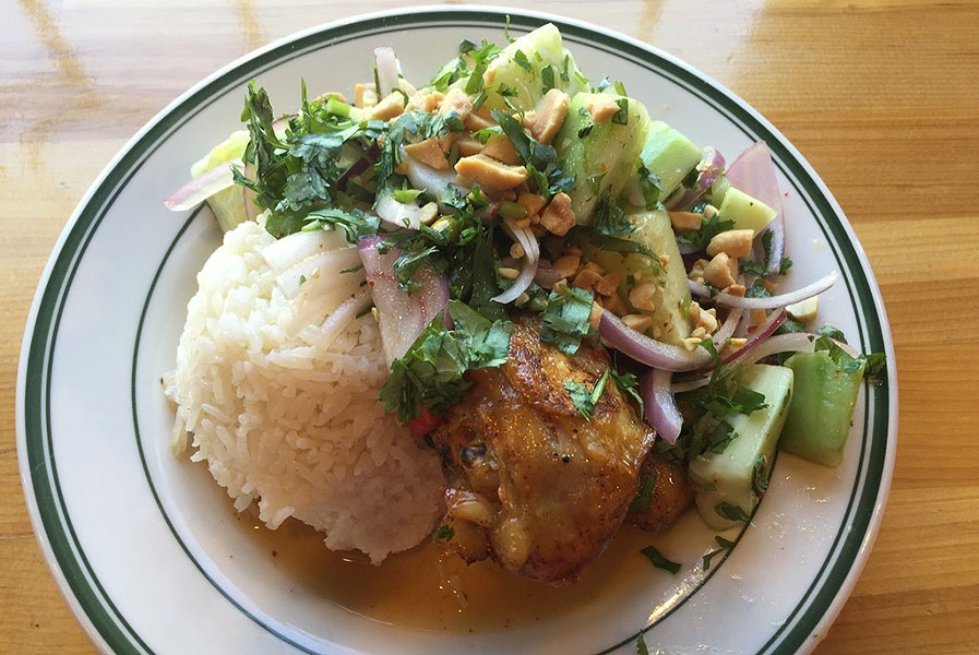 Chile-lime chicken-leg plate at Lucky Next Door - SALLY POLLAK