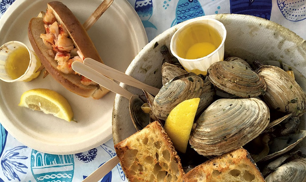 Steamed clams and a lobster roll at Cans 'n' Clams - SALLY POLLAK