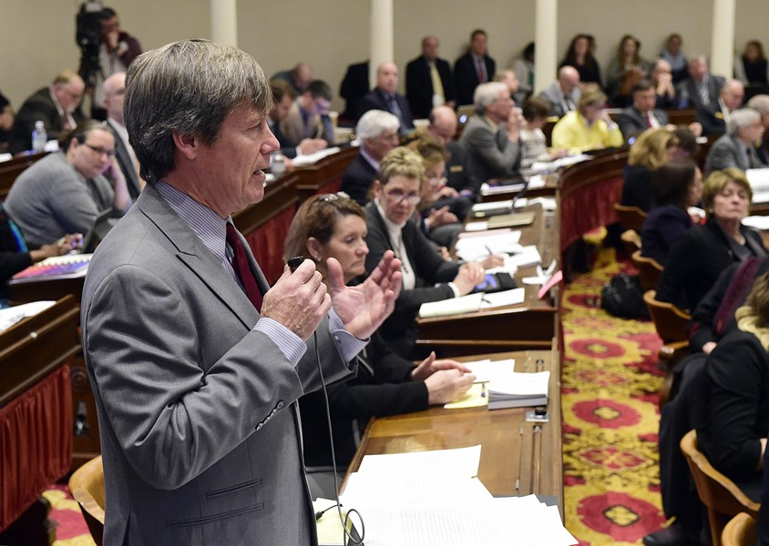 Rep. Chip Conquest urges the Vermont House to legalize marijuana. - JEB WALLACE-BRODEUR
