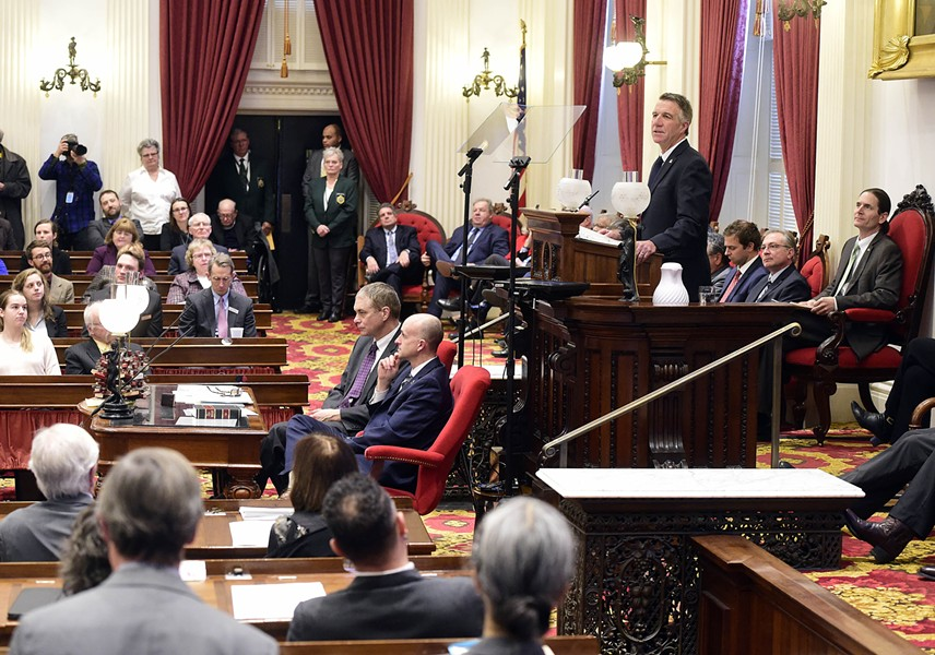 Gov. Phil Scott addressing the legislature - JEB WALLACE-BRODEUR