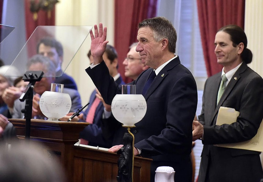Gov. Phil Scott delivering his State of the State address - JEB WALLACE-BRODEUR