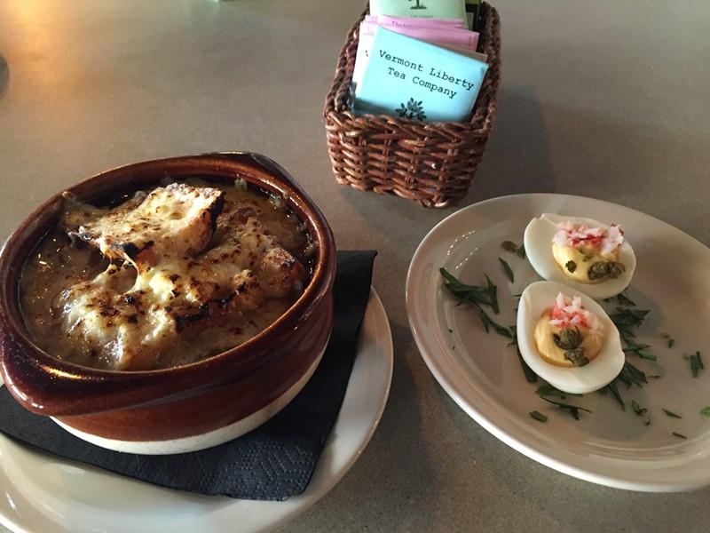 Onion soup at Allium in Waterbury. - SALLY POLLAK