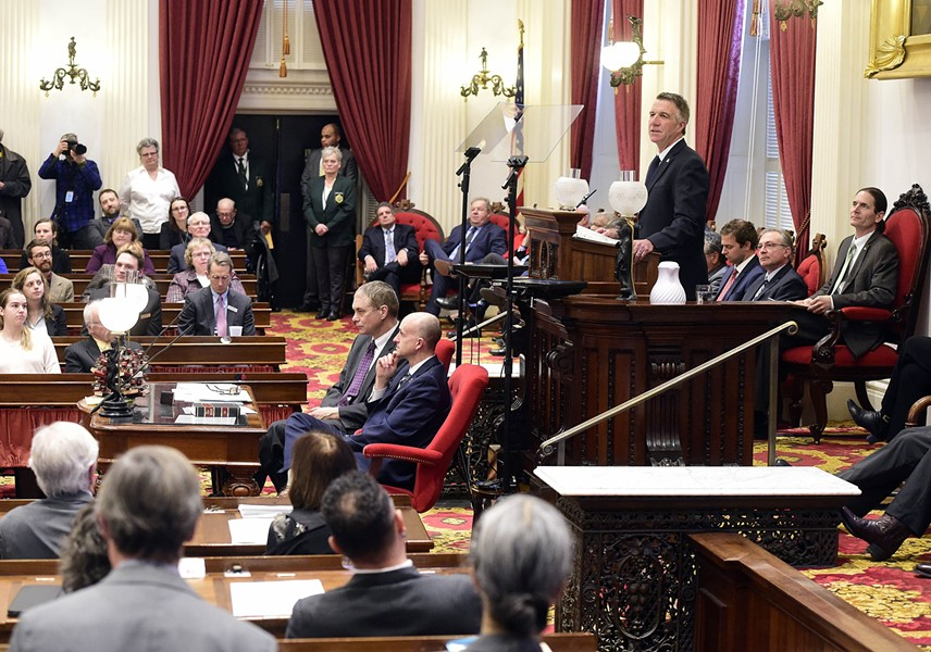 Gov. Phil Scott addressing the legislature - FILE: JEB WALLACE-BRODEUR