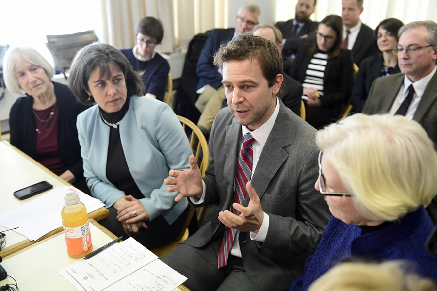 House Speaker Mitzi Johnson and Senate President Pro Tempore Tim Ashe respond to Gov. Phil Scott's budget address Tuesday at the Vermont Statehouse. - JEB WALLACE-BRODEUR