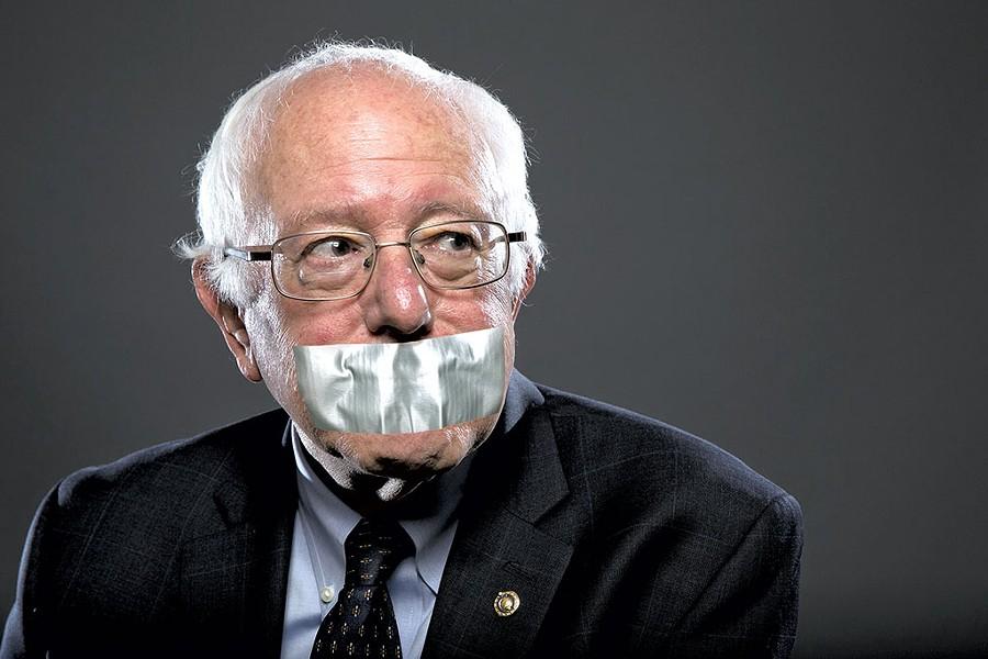 Sen. Bernie Sanders clams up around Seven Days staff. - PHOTO ILLUSTRATION