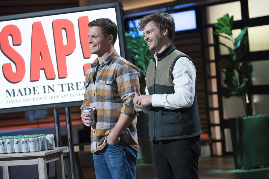 "Nikita Salmon (left) and Chas Smith on the set of ""Shark Tank"" - COURTESY OF DISNEY ABC"