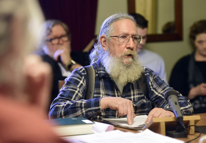 Gun Owners of Vermont president Ed Cutler testifies before the Senate Judiciary Committee on Thursday. - JEB WALLACE-BRODEUR