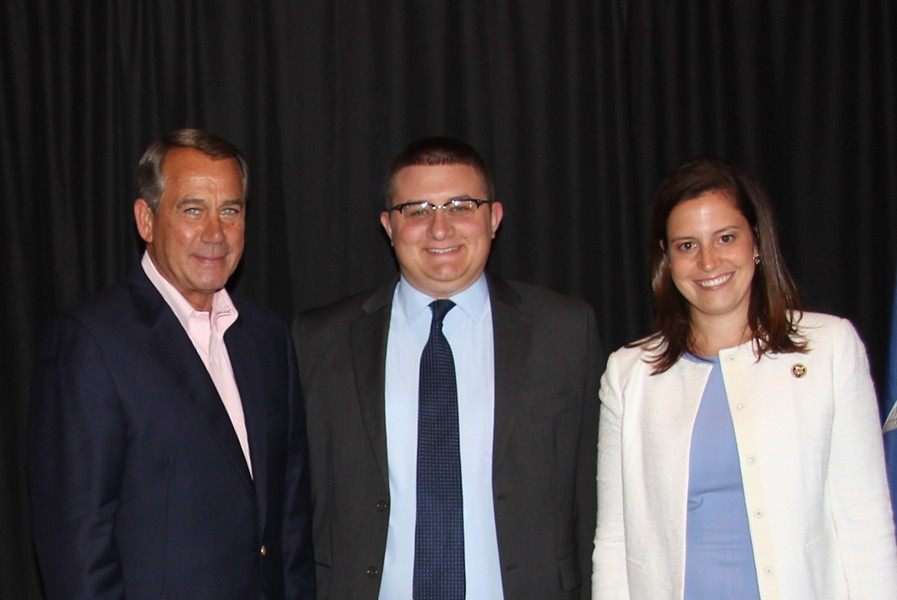 Jack Moulton, center, with former U.S. House speaker John Boehner and Rep. Elise Stefanik - COURTESY PHOTO