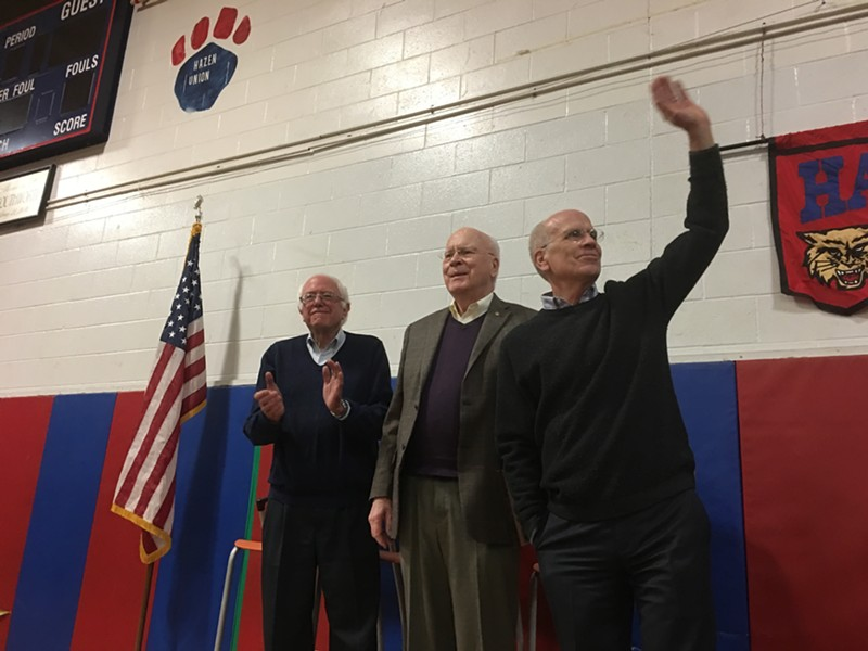 Vermont's all-male congressional delegation at a 2017 rally in Hardwick - FILE: JOHN WALTERS