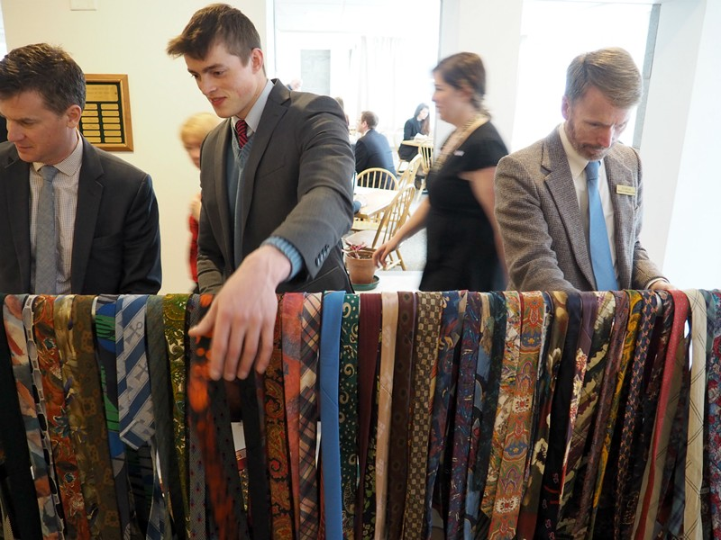 Lobbyists and lawmakers peruse Rep. Dave Sharpe's tie collection - TAYLOR DOBBS