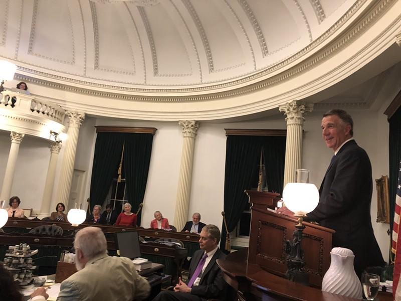 Gov. Phil Scott addresses the Senate Saturday at the close of the 2018 session. - ALICIA FREESE