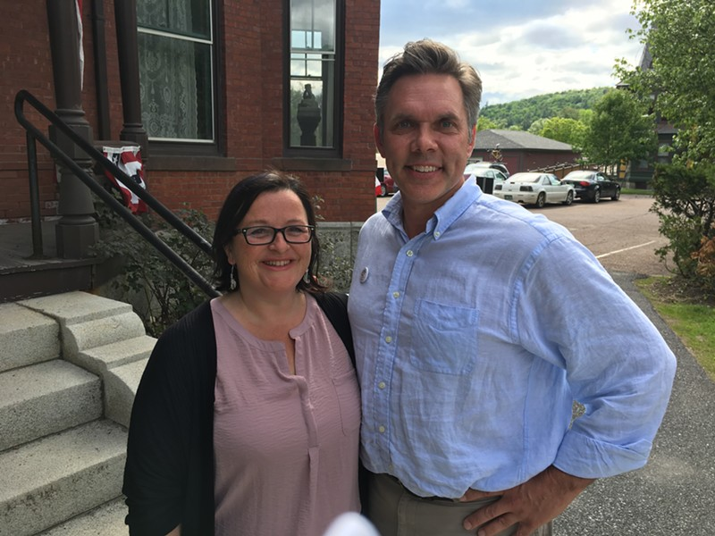 Democratic gubernatorial candidates Brenda Siegel and James Ehlers outside the Vermont Secretary of State's office - JOHN WALTERS